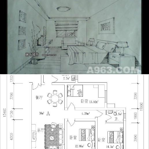一個房間的一點透視圖和平面圖圖片