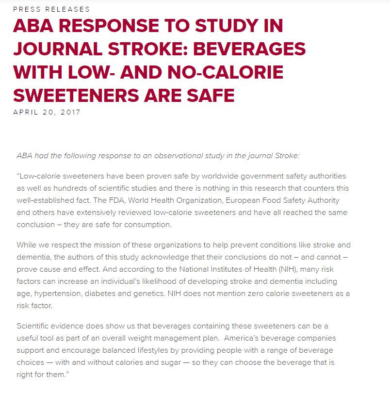 美国饮料协会声明:低卡路里和零卡路里甜味剂是安全的